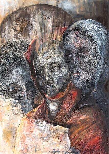 Kristina Pirkovic. Stabat Mater Dolorosa. Encre et huile sur papier. 70x50cm. 2017 copie